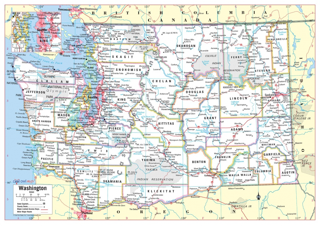 Washington State Wall Map Large Print Poster | Etsy - Printable Map Of Washington State