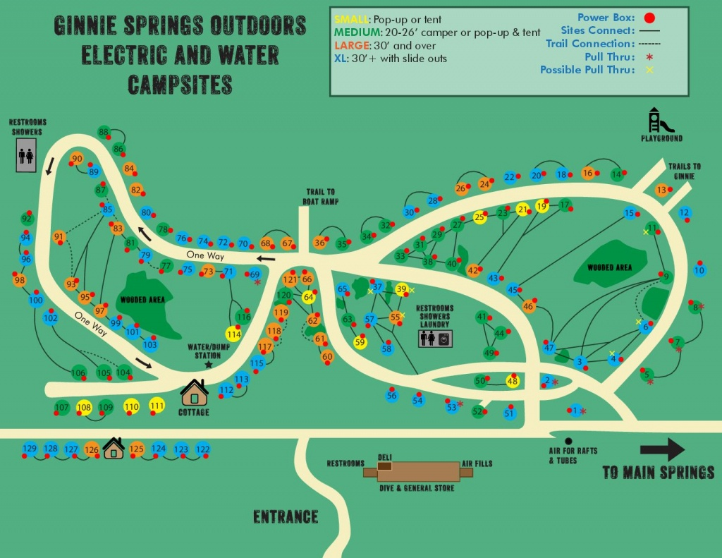 Water & Electric Sites | Ginnie Springs Outdoors | High Springs, Fl - Florida Hot Springs Map