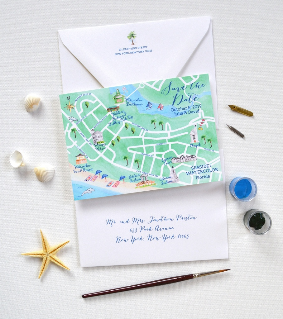 Watercolor Seaside Map Save The Date - Map Of Watercolor And Seaside Florida