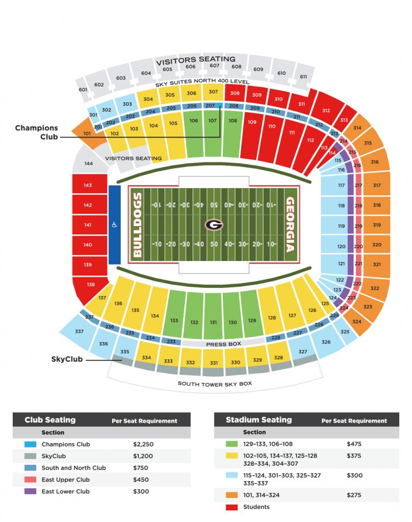 Wchf Sanford Stadium Seating | The Georgia Bulldog Club - University Of Florida Football Stadium Map