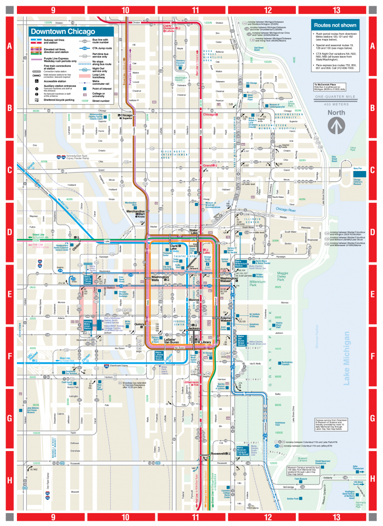 Web-Based Downtown Map - Cta - Map Of Chicago Attractions Printable