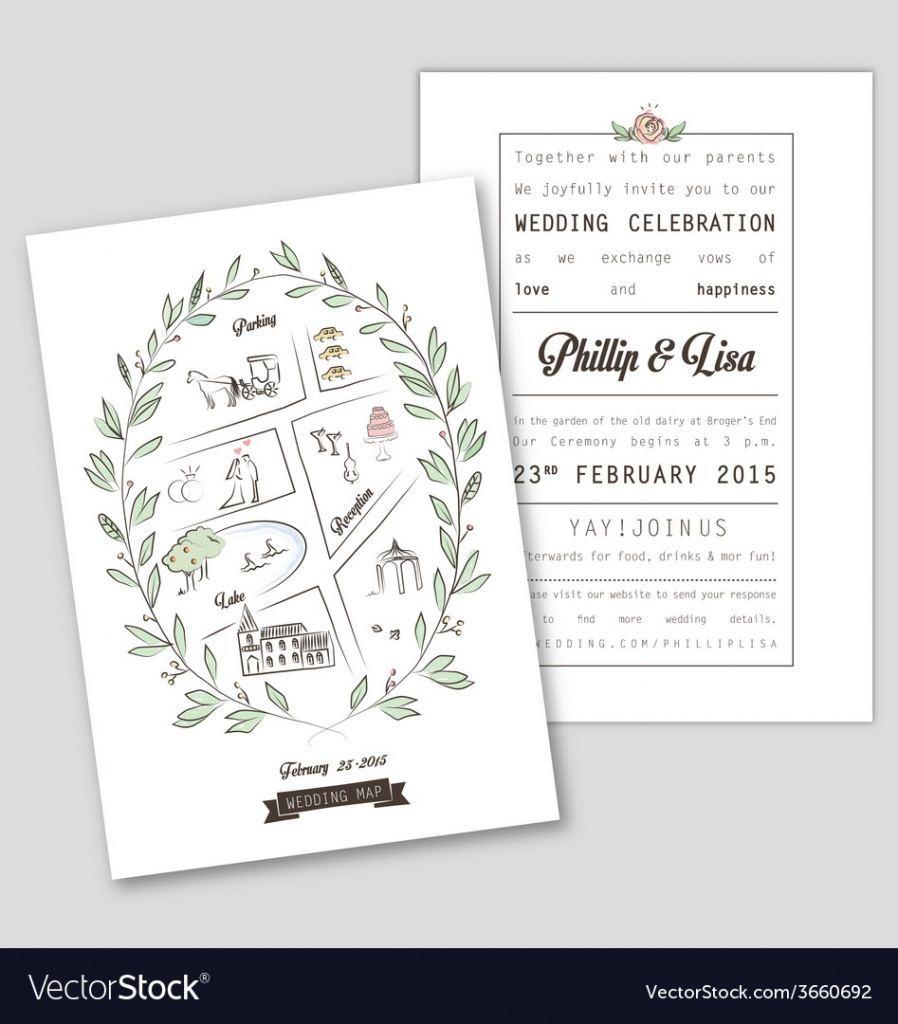 Wedding Invitation Template With Map Royalty Free Vector - Printable Maps For Wedding Invitations Free