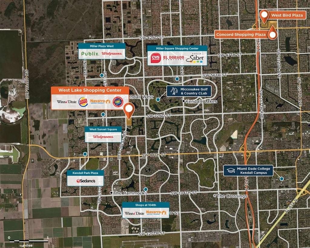 West Lake Shopping Center, Miami, Fl 33193 – Retail Space | Regency - Westlake Florida Map