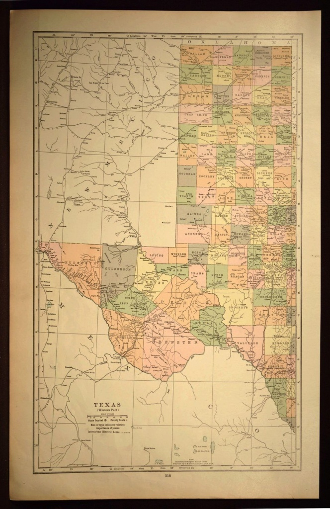 West Texas Map Of Texas Wall Art Decor Large Antique Western Wedding - Old Texas Map Wall Art