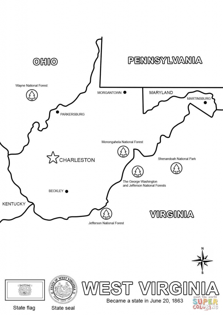 West Virginia State Map Coloring Page   Free Printable Coloring Pages - Printable Map Of West Virginia
