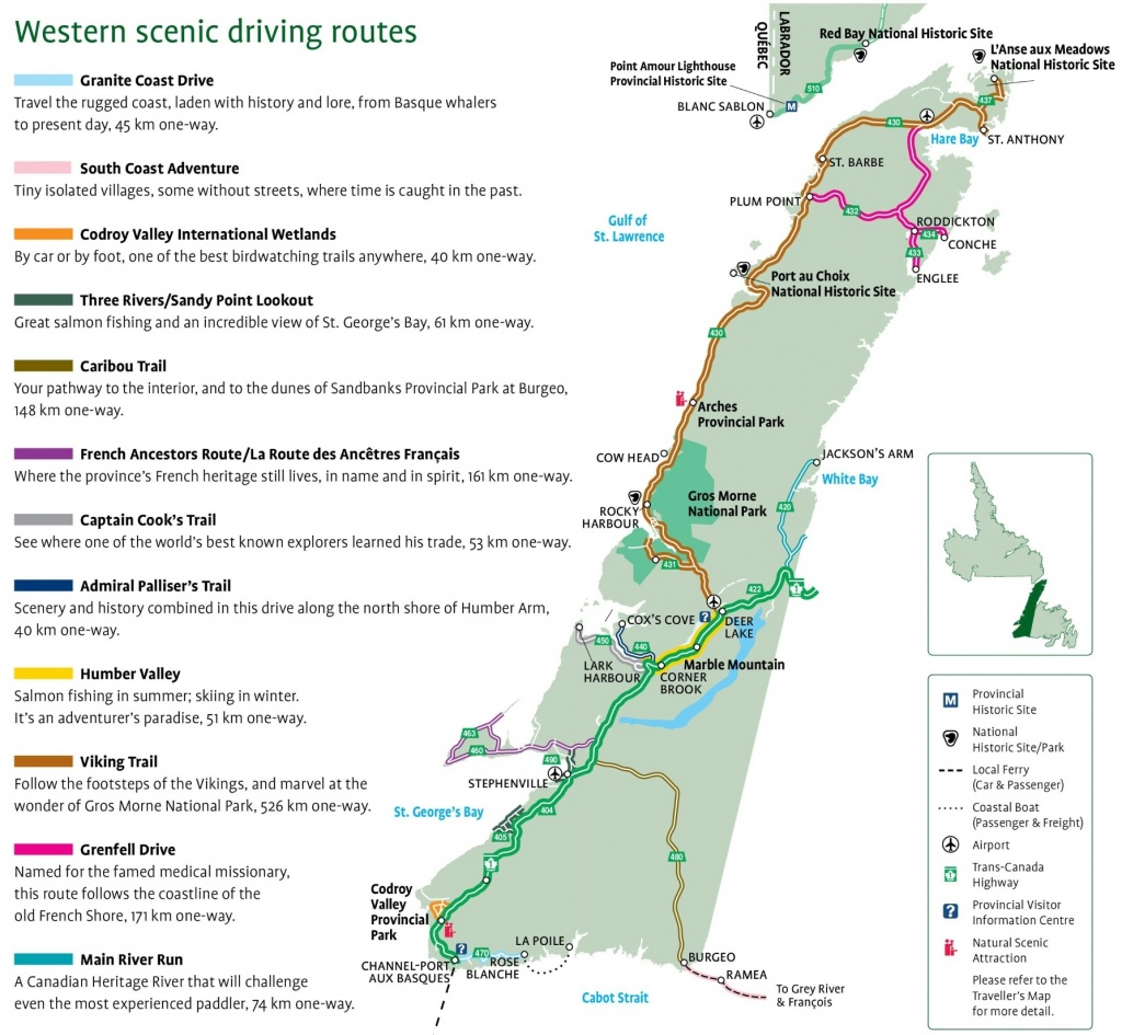 Western Newfoundland Scenic Driving Routes Map - Printable Map Of Newfoundland