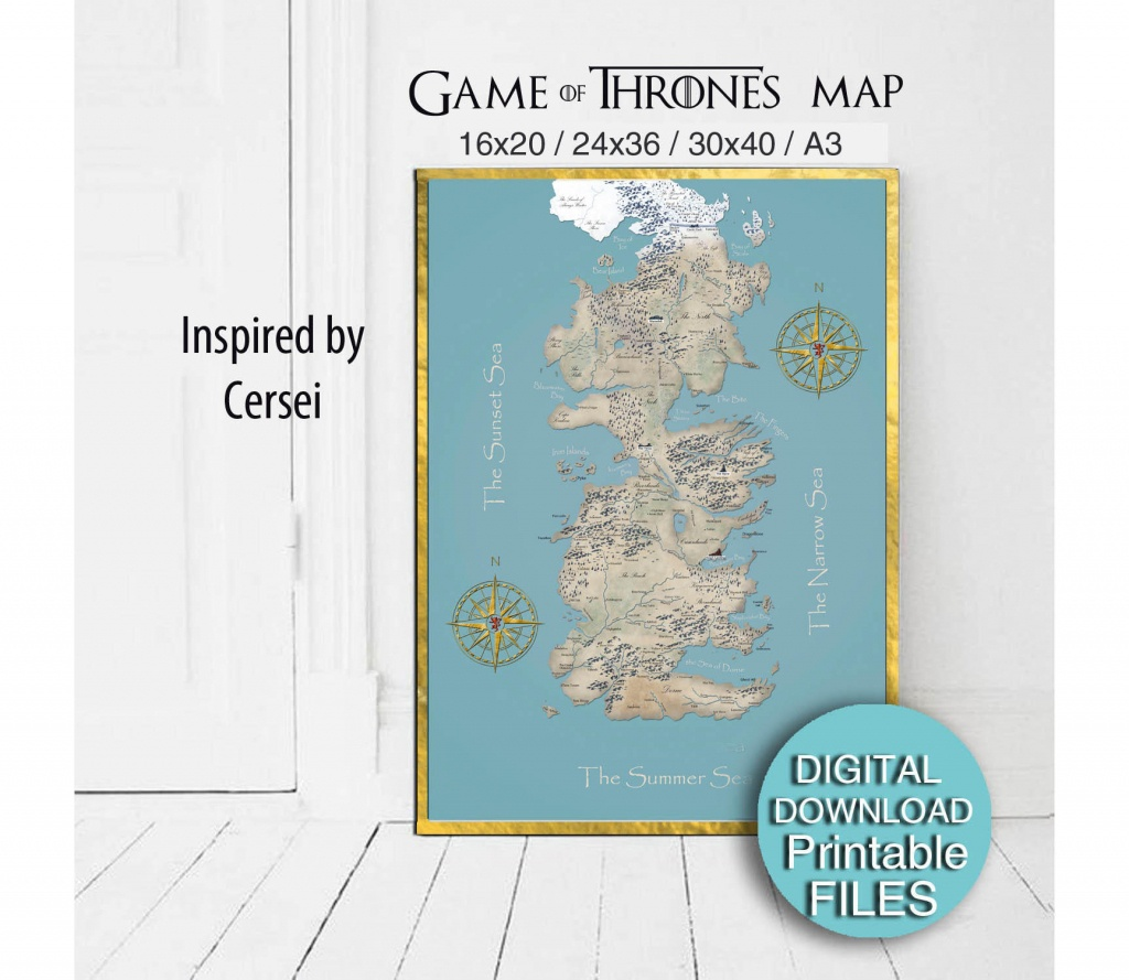 Westeros Map Printable Game Of Thrones Map Of Westeros | Etsy - Printable Map Of Westeros
