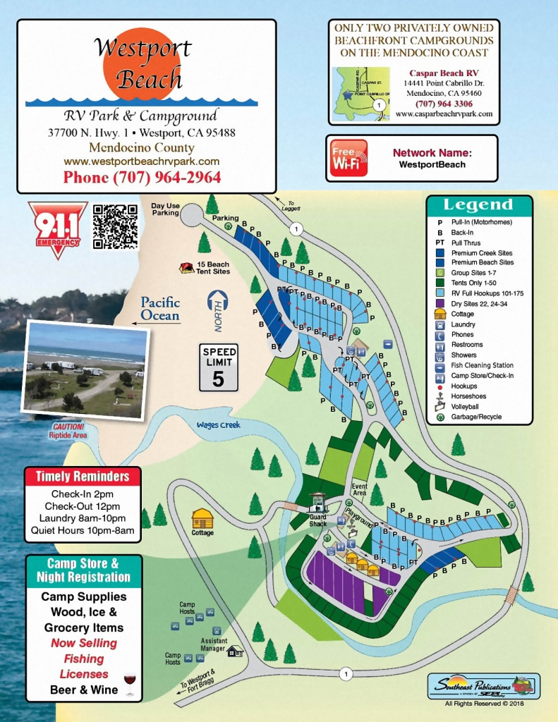 Westport Park Map - California Rv Campgrounds Map