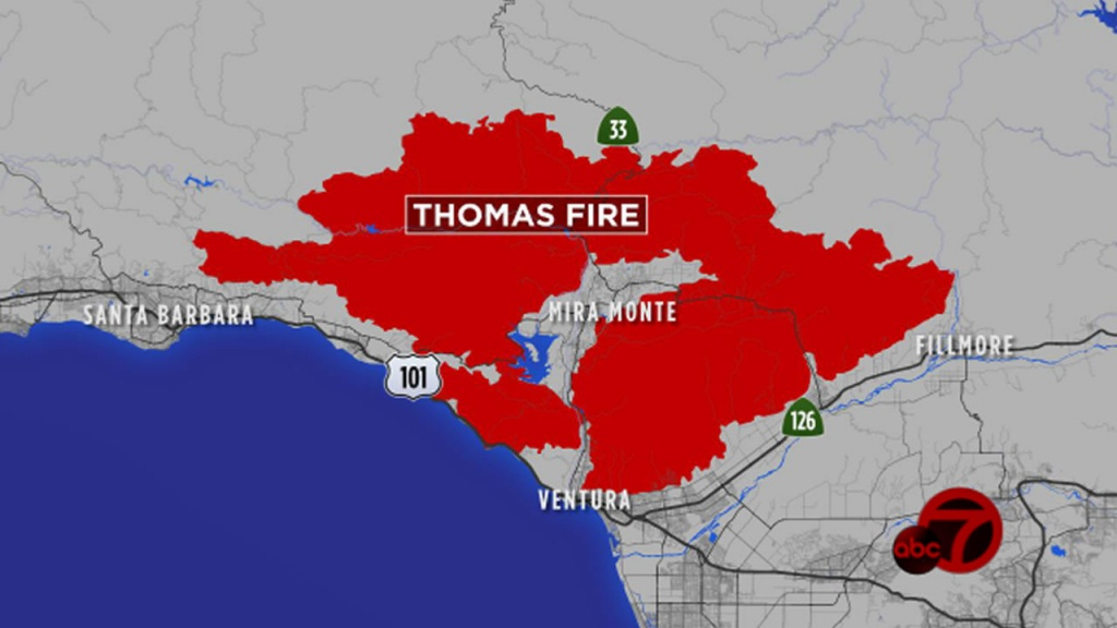 What If The Thomas Fire Burned The Bay Area? | Abc7News - Map Of Thomas Fire In California
