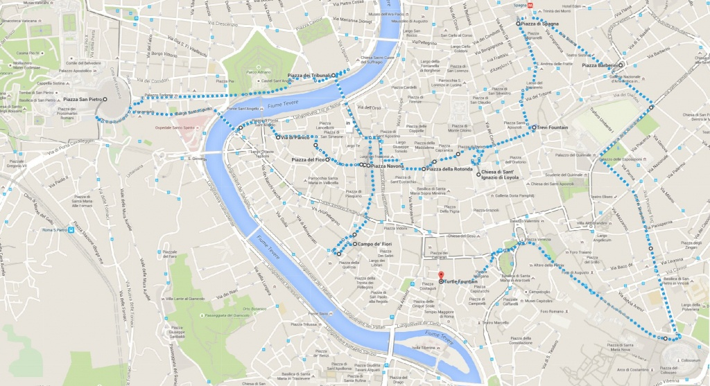What To Do When Only One Day In Rome   Walking Map - World Wanderista - Printable Walking Map Of Rome