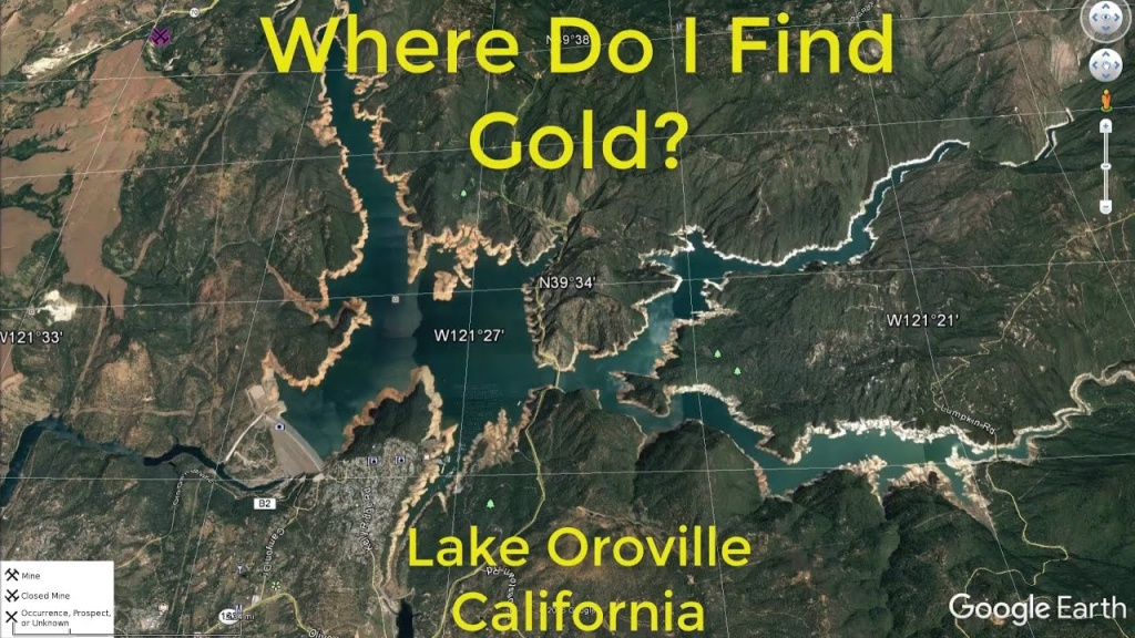 Where Do I Find Gold Around Lake Oroville - Youtube - Gold Prospecting Maps California