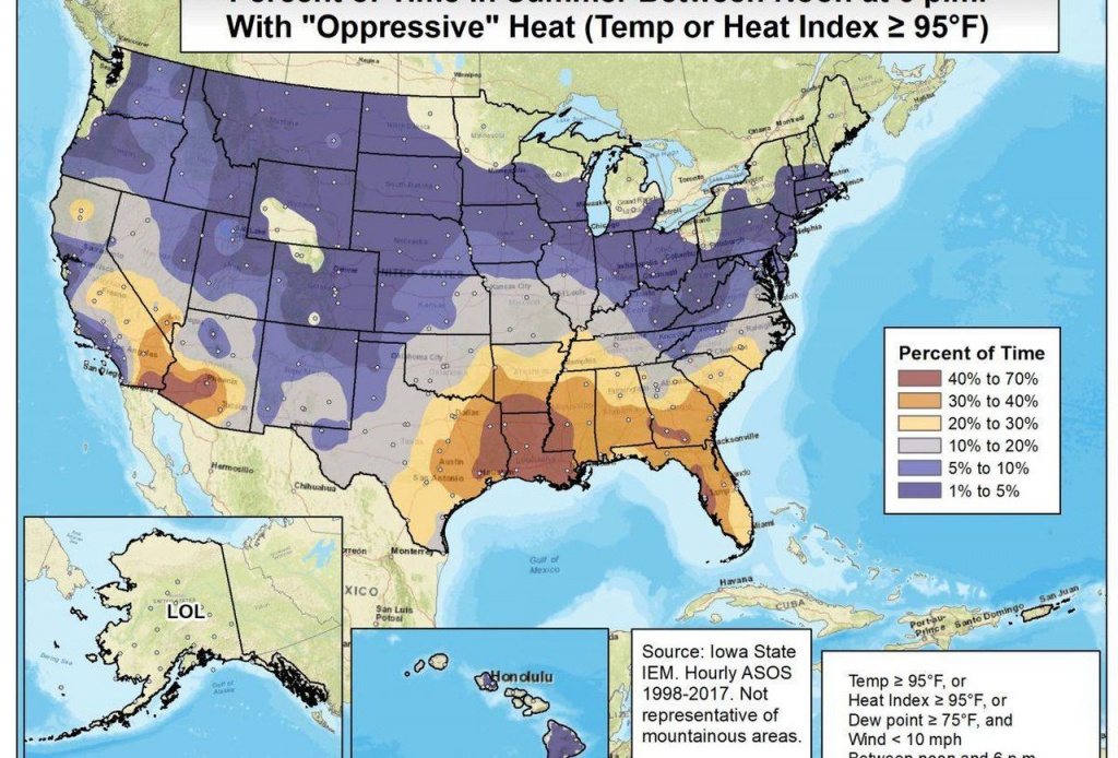 Who Has The Most Oppressive Weather? - Florida Heat Index Map