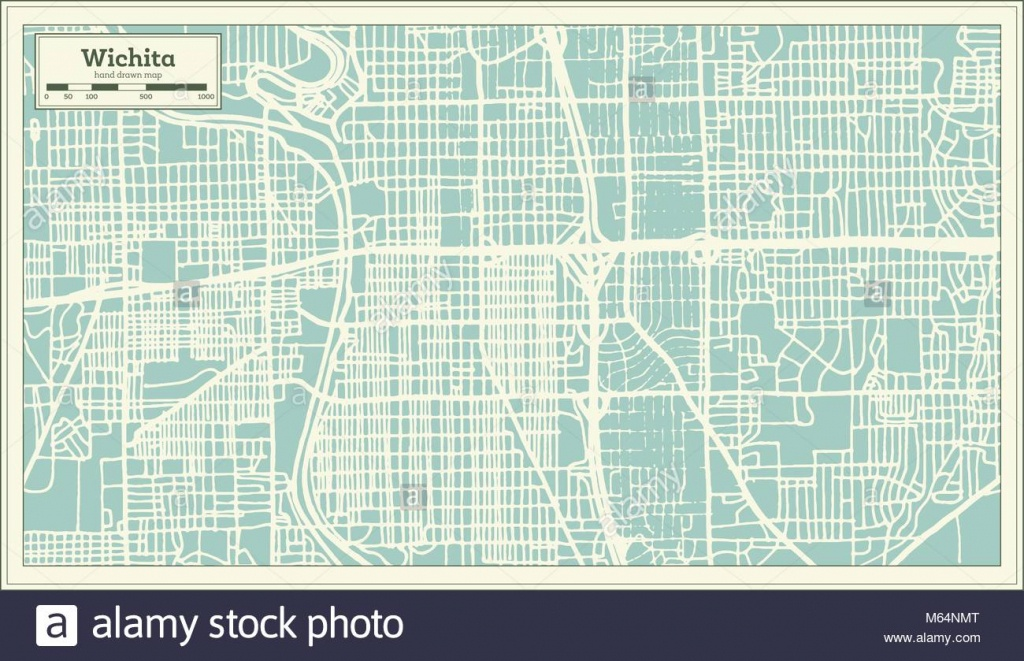 Wichita Kansas Usa City Map In Retro Style. Outline Map. Vector - Printable Street Map Of Wichita Ks