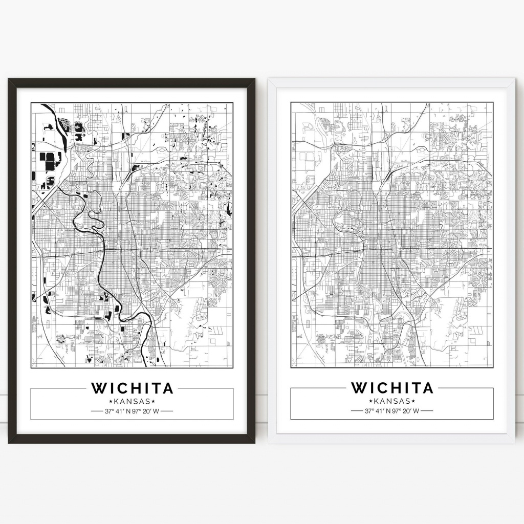 Wichita Map Kansas City Map Digital Poster Printable Wall | Etsy - Printable Street Map Of Wichita Ks