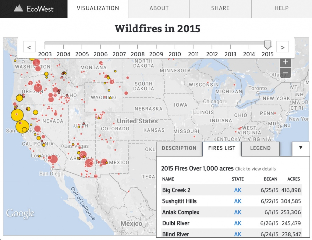 Wildfires In The United States   Data Visualizationecowest - Interactive Map Of California Fires