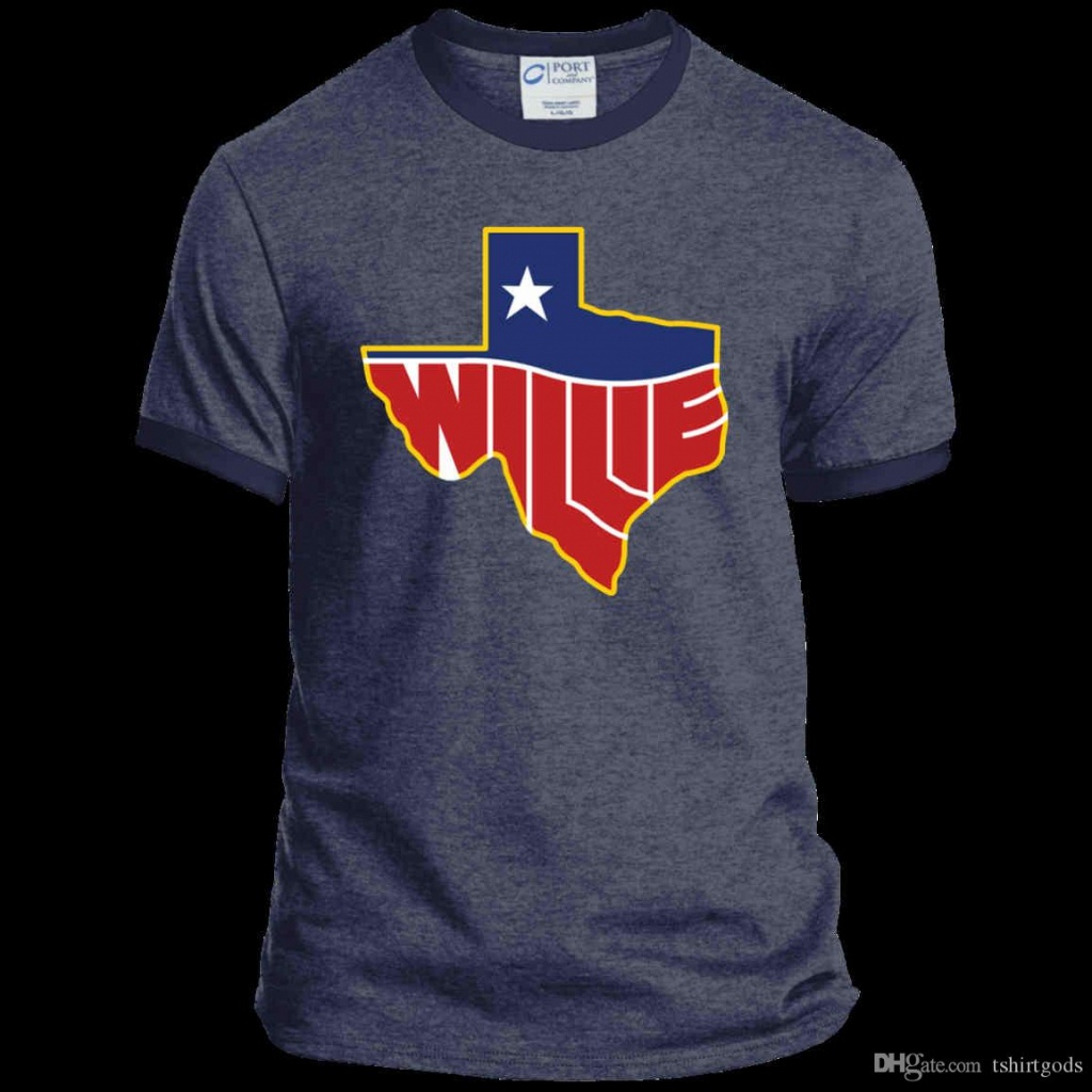Willie Nelson, Texas Map Logo, Country Music Pc54R Port & Co. Ringer - Texas Not Texas Map T Shirt