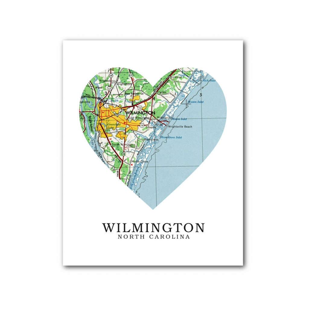 Wilmington Map Heart Print Wilmington Map Art Wilmington   Etsy - Printable Map Of Wilmington Nc