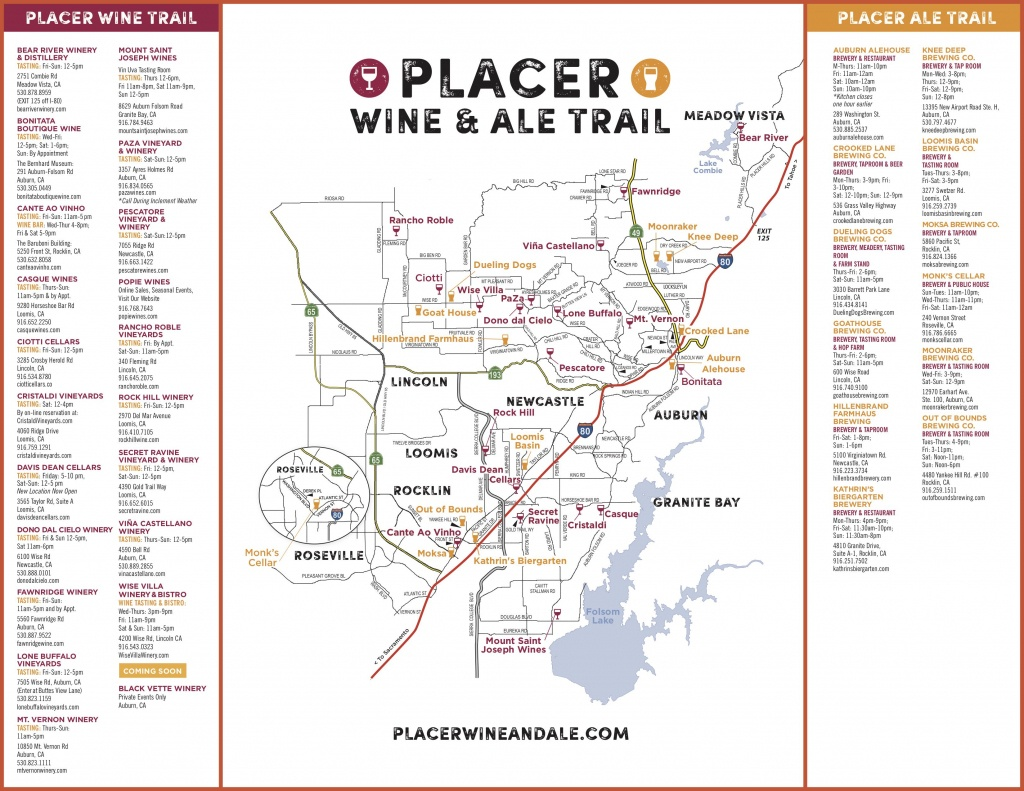 Wine & Ale Trails Of Placer County: Visit Northern California Wine - Auburn California Map