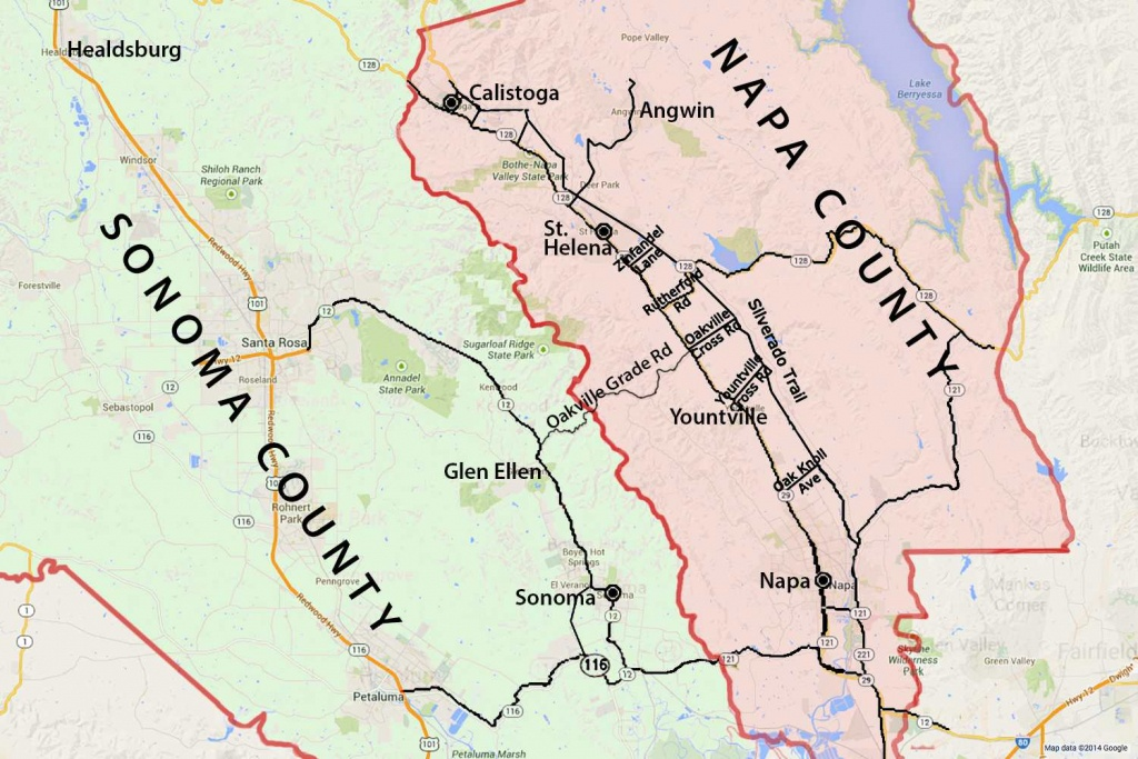 Wine Country Map: Sonoma And Napa Valley - California Wine Country Map