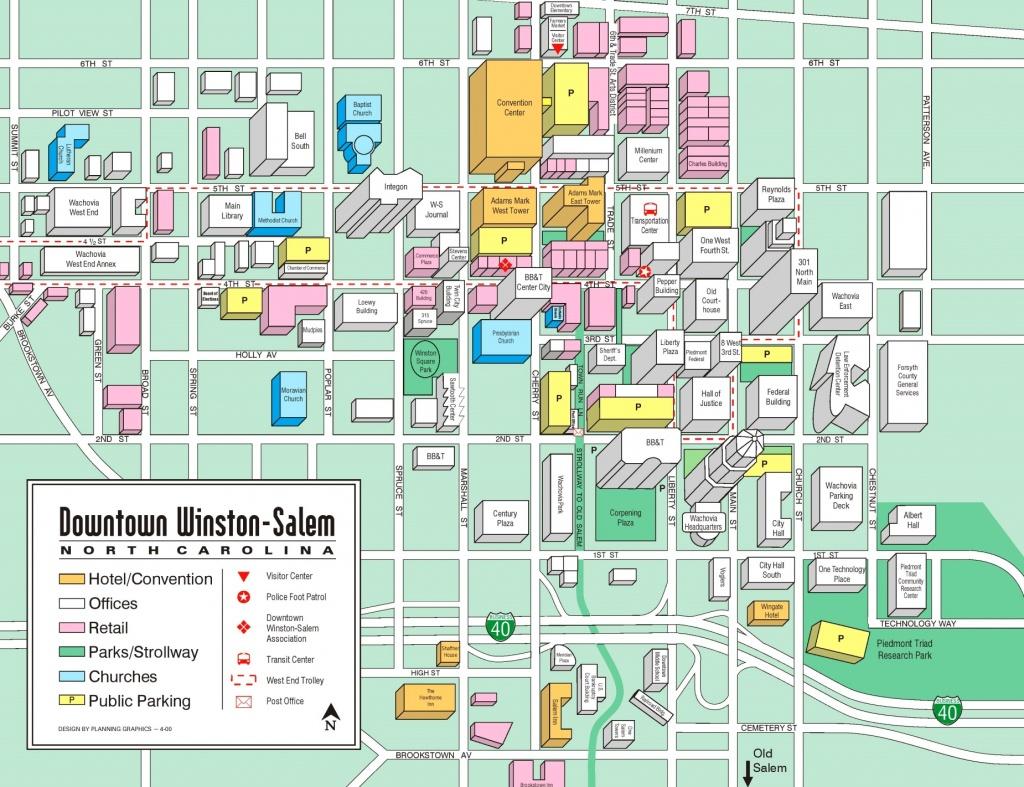 Winston-Salem Downtown Tourist Map - Winston California Map