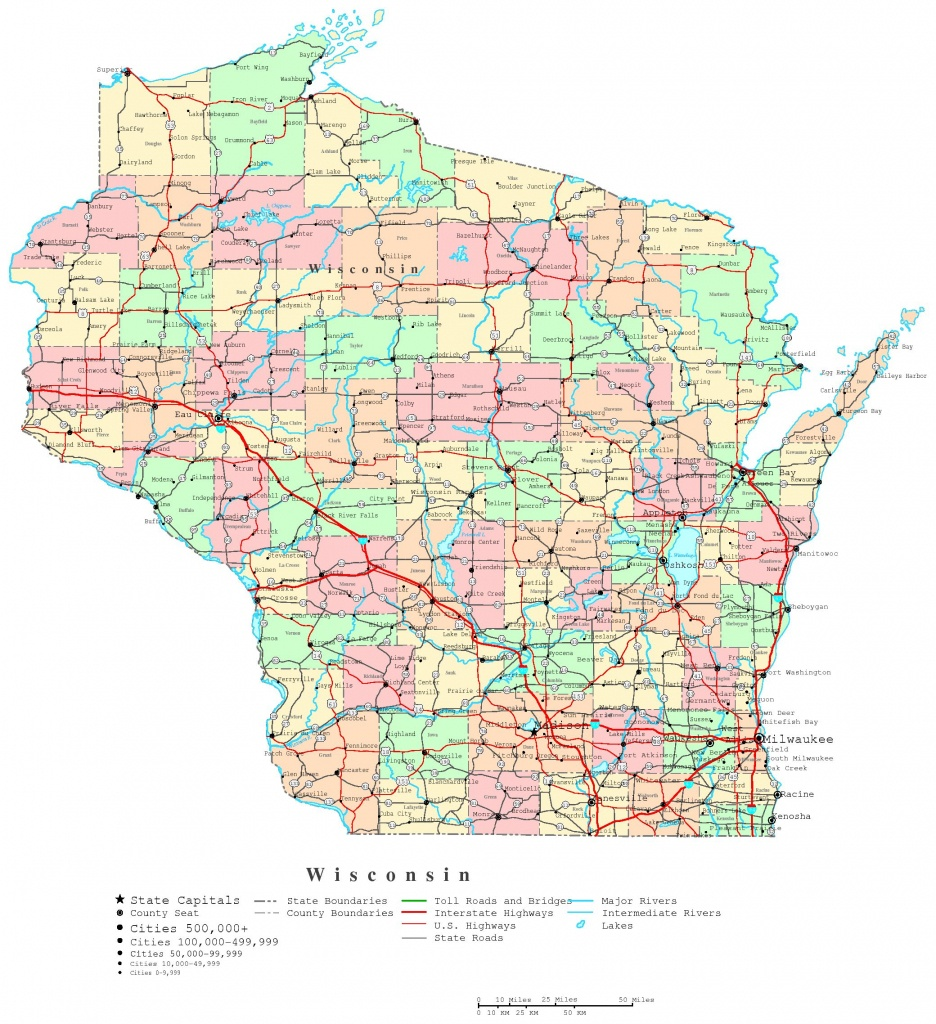 Wisconsin Printable Map - Printable Map Of Wisconsin Cities