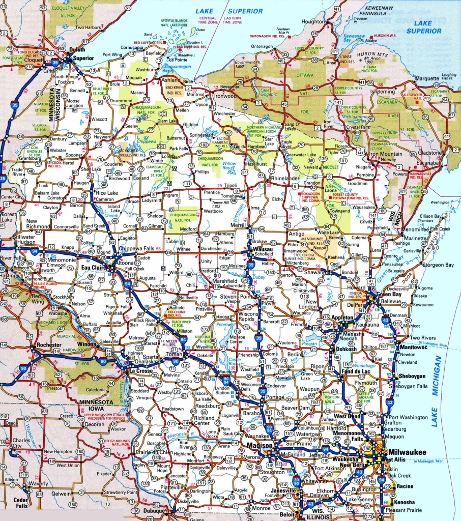 Wisconsin Road Map - Free Printable State Road Maps