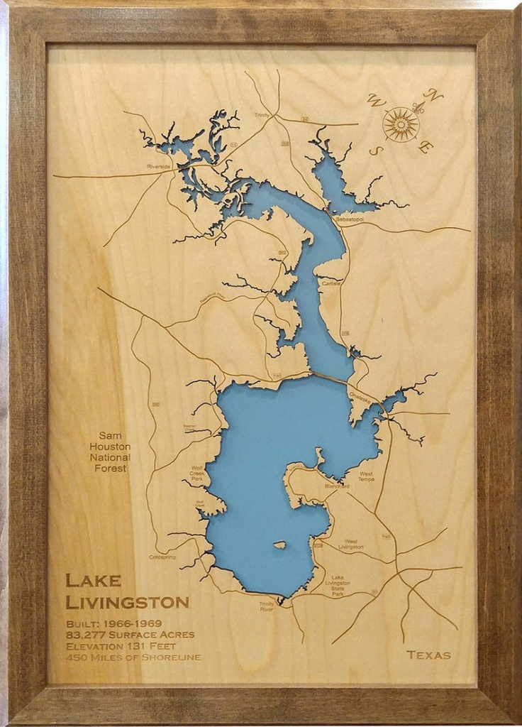 Wood Laser Cut Map Of Lake Livingston Texas Engraved Map | Etsy - Map Of Lake Livingston Texas