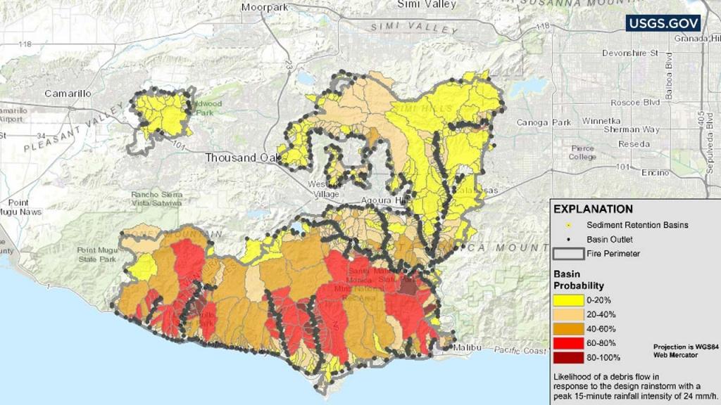 Woolsey Fire Mudslide Risk Map: Usgs Map Shows Likelihood Of Debris - Sherman Oaks California Map