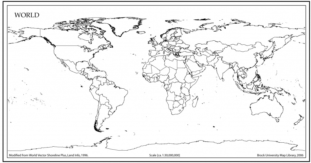 World Map Outline With Countries | World Map | Blank World Map, Map - World Map With Scale Printable