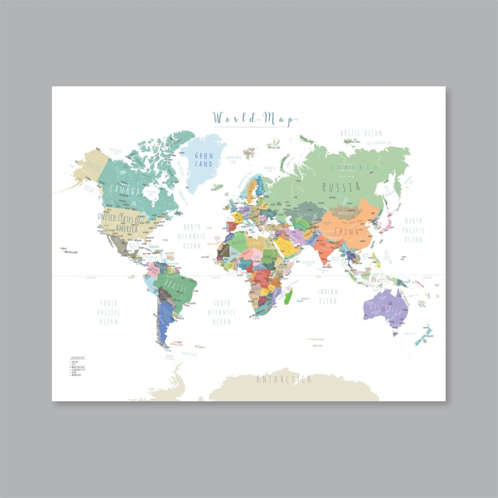 World Map Poster, Printable World Map With Countries, Map Of The World Wall  Art Kid Nursery Modern Home Decor (#p397) - World Map With Capital Cities Printable