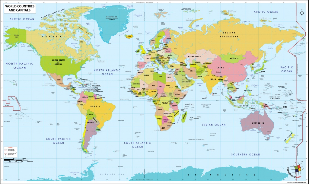 World Map With Countries And Capitals - World Map With Capital Cities Printable