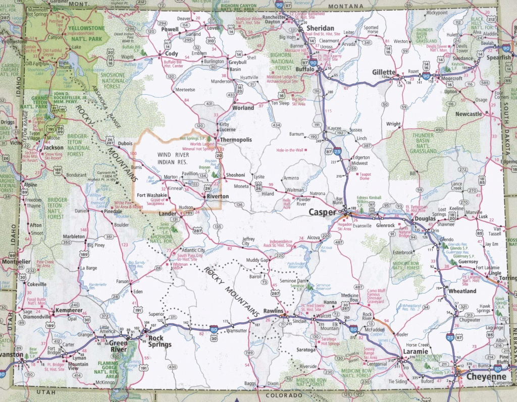Wyoming Road Map - Free Printable State Road Maps