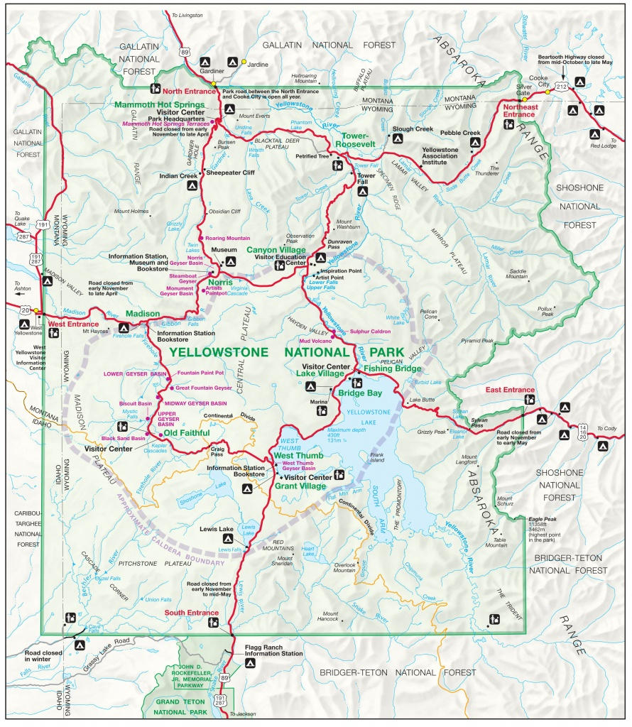 Yellowstone Map | Yellowstone Maps - Printable Map Of Yellowstone
