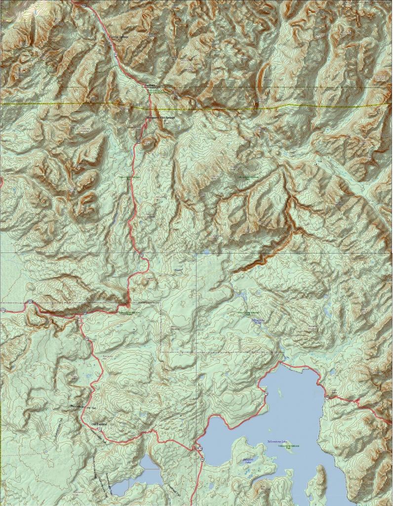 Yellowstone National Park Topo Map (Print Version) | Yellowstone Maps - Printable Topographic Map