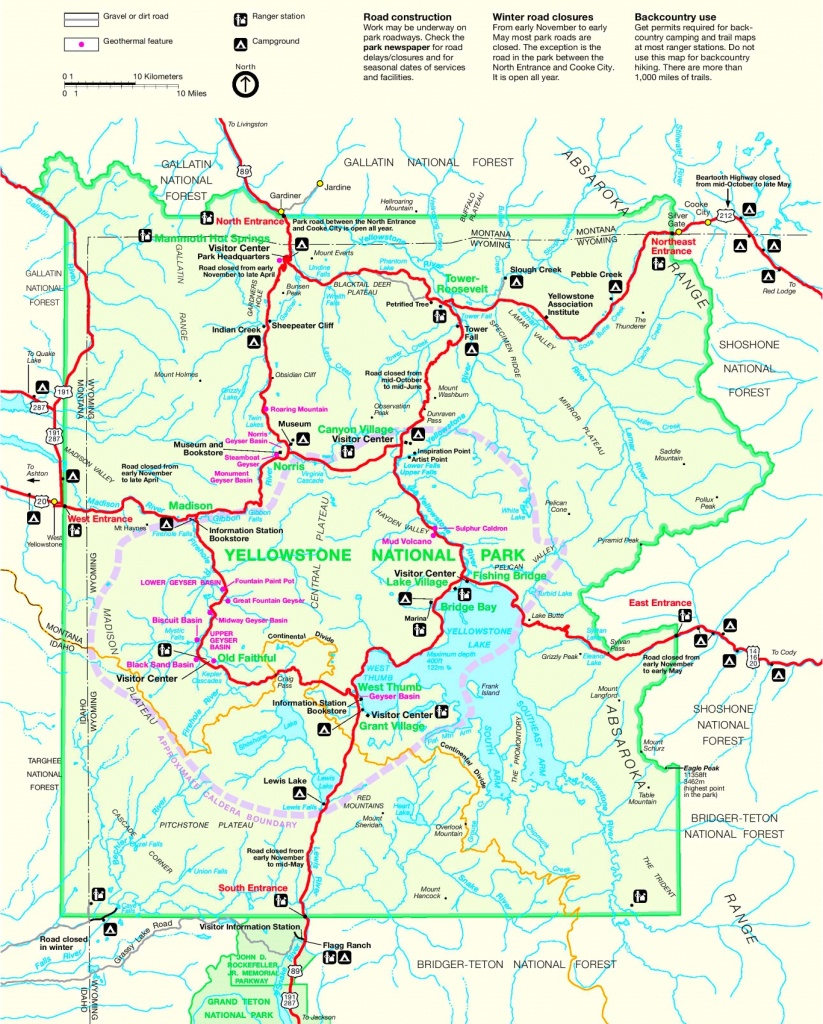 Yellowstone Road Map - Printable Map Of Yellowstone