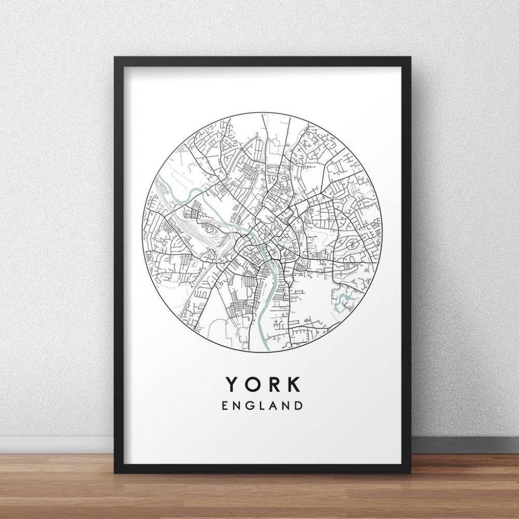 York City Print Street Map Art York Map Poster York Map | Etsy - York Street Map Printable