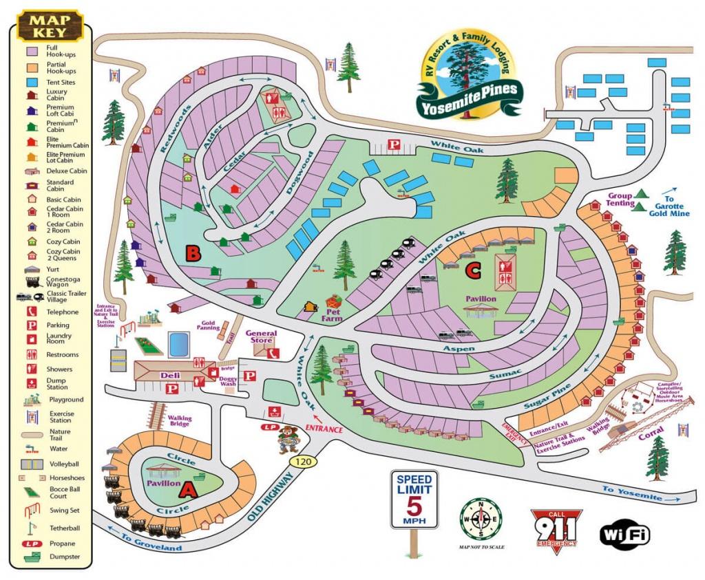 Yosemite Pines Rv Resort And Family Lodging Map - California Rv Resorts Map