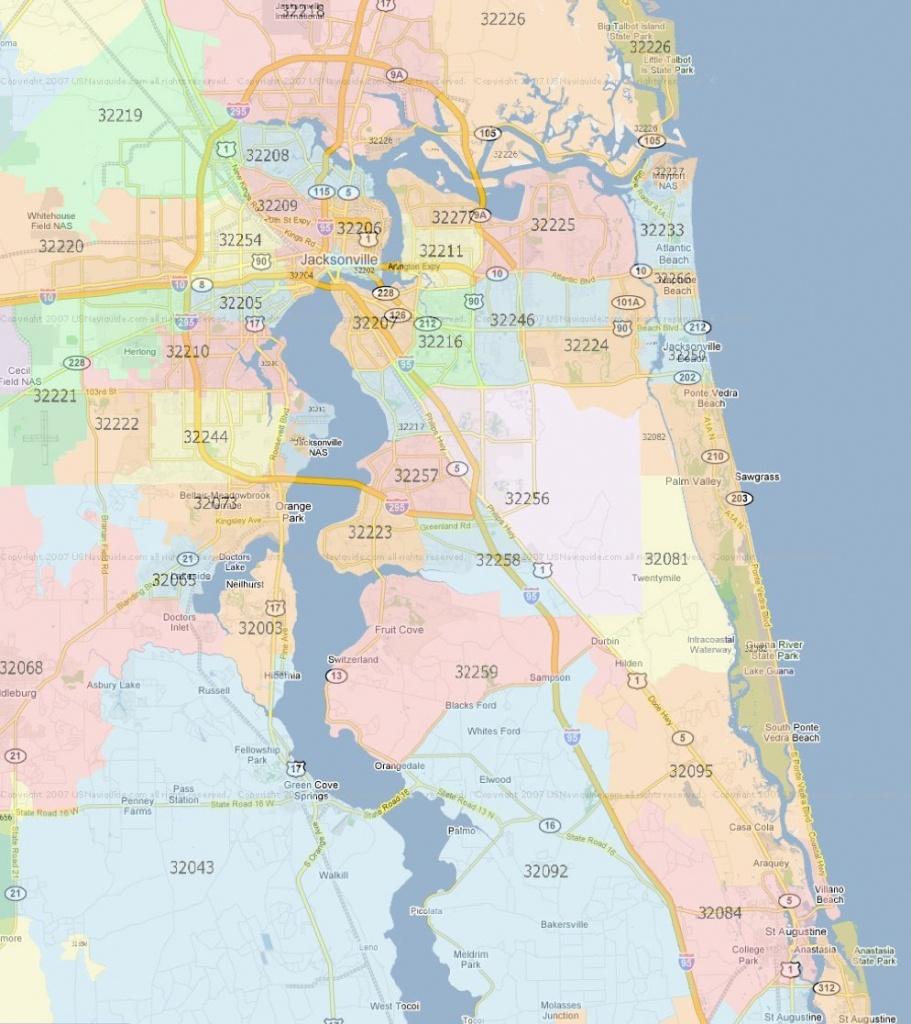 Zip Code Map Jacksonville Florida | Jacksonville Zip Codes - Florida Zip Code Map